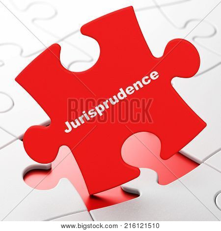 Law concept: Jurisprudence on Red puzzle pieces background, 3D rendering