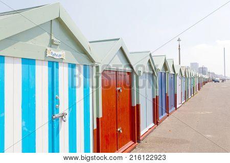 Brighton Great Britain - Jun 19 2017: Lots Of Very Colorful Bathing Huts In Brighton And Hove. No Pe