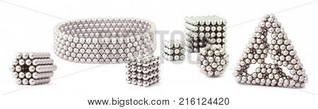 Cube, triangle, bracelet of metal segment assembled from sphere isolated on white, collage