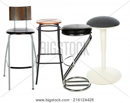 Four modern and simple bar stools isolated on white, collage