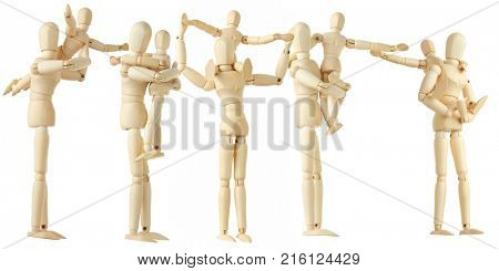 10 wooden figures of parents and children, full body, isolated on white, collage