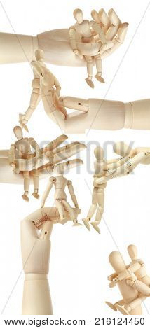 8 wooden mannequin and big wooden hands isolated on white, collage