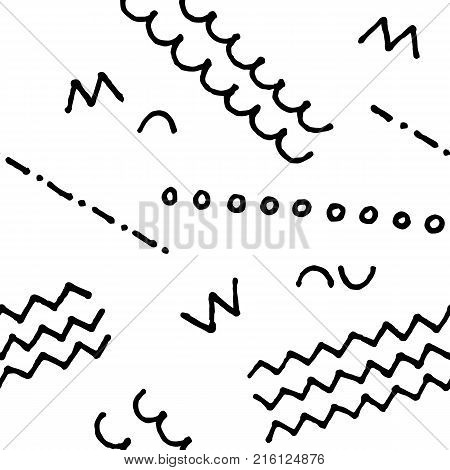 Black and white doodle seamless vector pattern. Nursery scribbled print. Abstract doodle seamless pattern. Handdrawn ornament. Memphis background decor tile. Trendy hipster ink doodle pattern tile