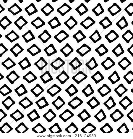 Black and white doodle seamless vector pattern. Doodle minimalist square seamless pattern in black and white.