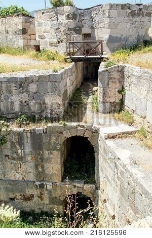 Internal passages in the fortress of the knights of the Ioannites on the island of Kos. Greece
