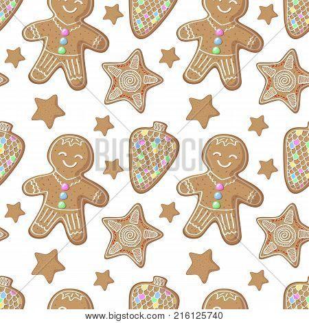 Gingerbread figurines vector pattern. Christmas gingerbread seamless pattern on white background. New Year or Christmas gift wrapping paper. Cute gingerbread man pattern. Winter holiday festive print
