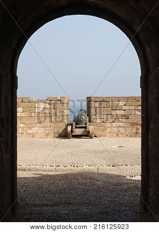 Old cannon in the fortress city of Essaouira. Morocco