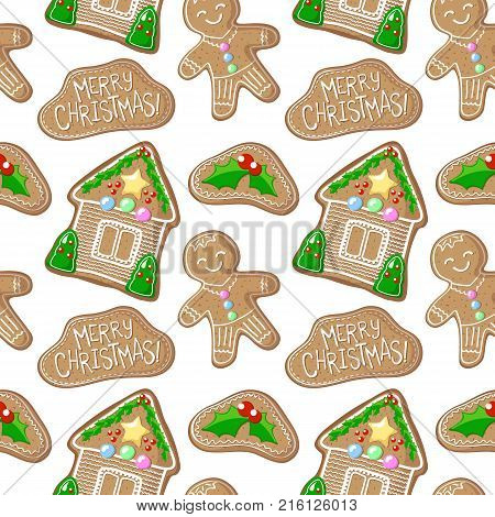 Gingerbread holly jolly and house vector pattern. Christmas gingerbread seamless pattern on white background. New Year seasonal decor. Christmas gift wrapping paper. Gingerbread man cookie pattern