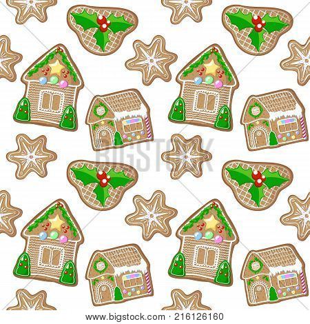 Holly jolly snowflake and house gingerbread figurines vector pattern. Christmas gingerbread seamless pattern on white background. New Year or Christmas gift wrapping paper. Handdrawn gingerbread