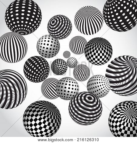 Vector abstract background with black and white spheres.