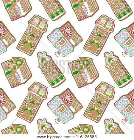Cute gingerbread house vector pattern. Christmas gingerbread seamless pattern on white background. New Year seasonal decor. Christmas gift wrapping paper. Gingerbread pattern tile. Winter house cookie
