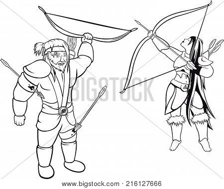 Two vector archers black and white contours