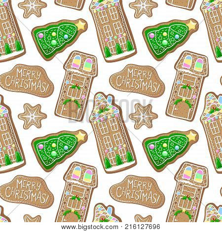 Green pine tree and house gingerbread cookie vector pattern. Christmas gingerbread seamless pattern on white background. New Year season decor. Christmas gift wrapping paper. Cartoon gingerbread print