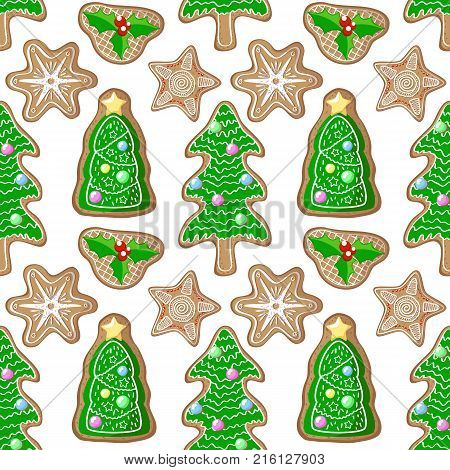 Christmas tree and holly jolly gingerbread figurines vector pattern. Christmas gingerbread seamless pattern on white background. New Year seasonal decor. Christmas wrapping paper. Gingerbread pattern