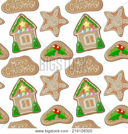 Holly jolly and house gingerbread figurines vector pattern. Christmas gingerbread seamless pattern on white background. Colorful New Year paper. Christmas gift wrapping paper. Gingerbread pattern tile