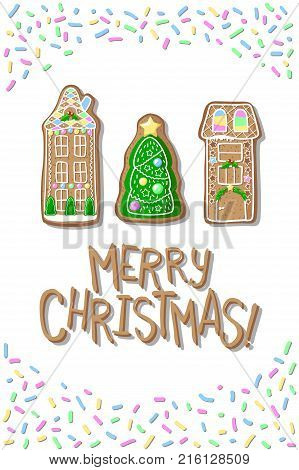 Christmas postcard with gingerbread houses and fir tree. Merry Christmas handdrawn vector postcard. Gingerbread cookie figurines vertical illustration. Winter holiday greeting card. New Year poster