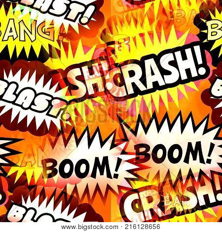 Crash bang blast and boom seamless background textile print.