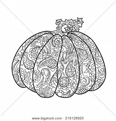 Pumpkin with ornament coloring page. Halloween coloring page. Halloween pumpkin vector illustration on white background. Pumpkin with floral motif for adult coloring. Oriental paisley coloring book