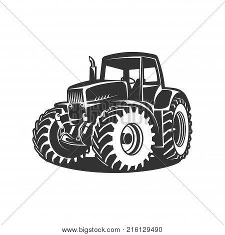 white tractor on black background vector illustration