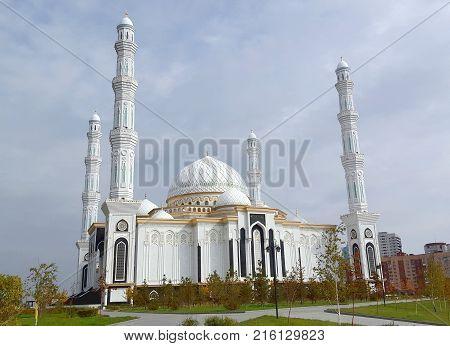 Astana, Kazakhstan, October 2, 2017: The Hazrat Sultan Mosque in Astana with blue cloudy sky Kazakhstan