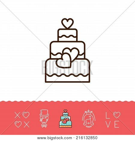 Wedding Cake Icons, Bride and groom, Wedding card, Love text. Line art design, Vector flat illustration