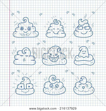 Poop emoji face icons, crap signs, cartoon shit. Smiling poop faces, Unique hand drawn style, Vector doodle