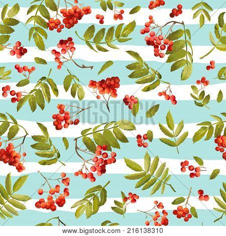 Autumn Rowanberry Seamless Background. Floral Fall Pattern with Leaves and Berries in Vector