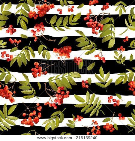 Fall Rowanberry Seasonal Seamless Background. Floral Autumn Pattern with Leaves and Berries in Vector