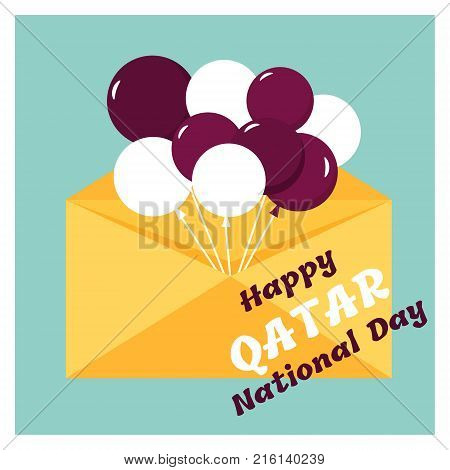 18 December. Qatar National Day card in national flag color theme.