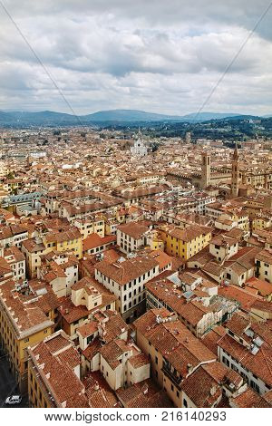 Scenic Skyline View of Florence. City Famous Art City in Renaissance Era, Florence, Tuscany, Italy.