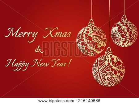Abstract hand drawn golden shiny Christmas balls. Merry Christmas and happy New year text. Doodles pattern. A Christmas greeting vector card. A New year background with golden Chinese lantern tassel