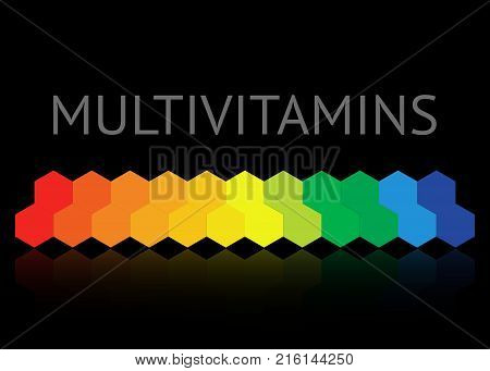 Multivitamin label inspiration, icon concept vitamins, vector isolated or black background