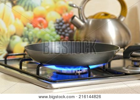 frying pan on a stove