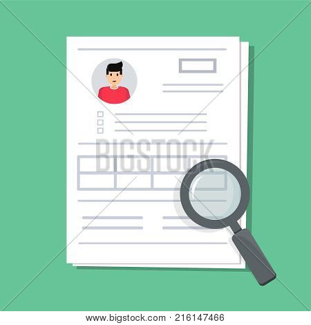Documents with personal data. The stack of the paper document with user profile data and photo under the magnifier, the concept of interview job. Qualification test, evaluation, cv. Vector Illustration