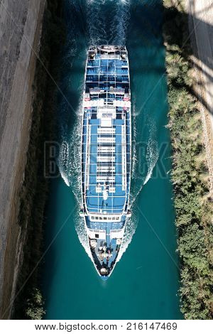 Corinth channel in Greece view on Aegean Sea while a ship is going to pass the channel.