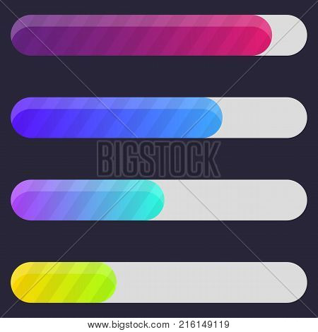 Colorful Progress bar, Loading bar for web interfaces. Status bar template