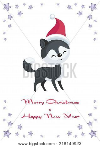 Christmas greeting card with the image of the Eskimo dog. Vector illustration.