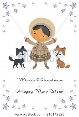 Christmas greeting card with the image of the Eskimo girl. Vector illustration.