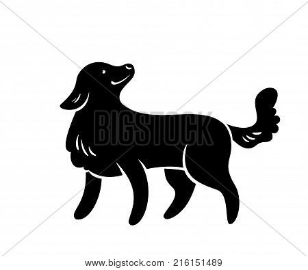 Vector silhouette of frendly dog isolated on white.