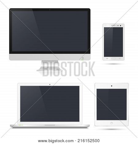 Realistic computer monitor laptop tablet smartphone. Different devices mockup with blank screen isolated on white background. Vector detalied gadgets.