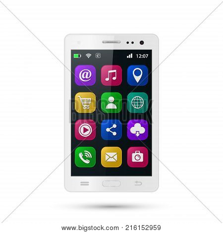 Realistic smartphone with app icons. Touchscreen smartphone with colorful social media application icons. Vector isolated white mobile phone on white background.