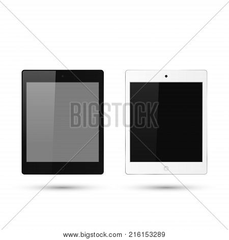 Realistic tablet set with blank screen. Vector isolated detalied white and black tablet.