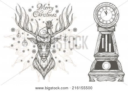 Beautiful deer with Christmas decorations and vintage clock. Set of decorative elements for Christmas and New Year design.
