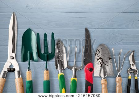 Garden tools gardening garden tools yellow group isolated