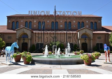 OGDEN, UT - AUG 26: Union Station in Ogden, Utah, as seen on Aug 26, 2017. It was formerly the junction of the Union Pacific and Central Pacific Railroads.