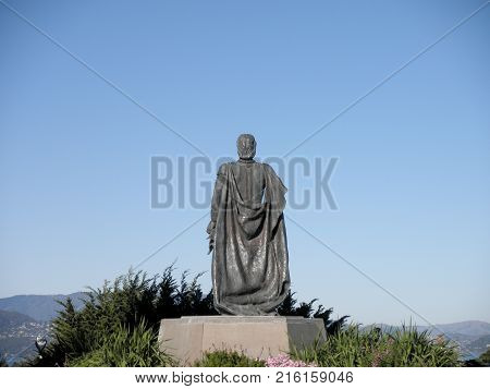 San Francisco - November 23 2009: Christopher Columbus statue in Pioneer Park. A bronze statue of Christopher Columbus was placed in the park in 1957 donated by the city's Italian-American community.