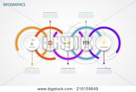 Vector infographics design template integrated circles. Business concept with options. Blank space for content business infographic diagram process diagram timeline digital network flowchart