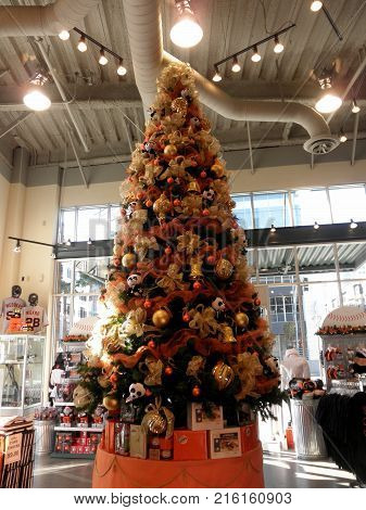 San Francisco - November 18 2009: San Francisco Giants Christmas Tree in San Francisco Giants Dugout Store. Sporting apparel & memorabilia of the San Francisco Giants is available at this buzzing location.