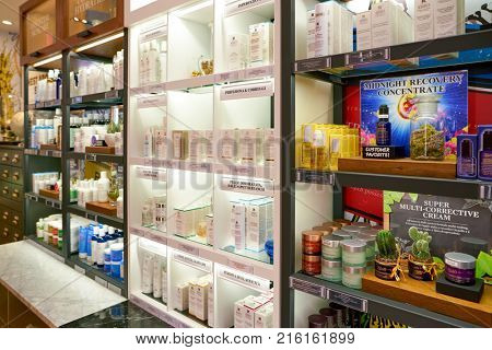 ROME, ITALY - CIRCA NOVEMBER, 2017: Kiehl's cosmetics sit on display. Kiehl's is an American cosmetics brand retailer that specializes in premium skin, hair, and body care products.