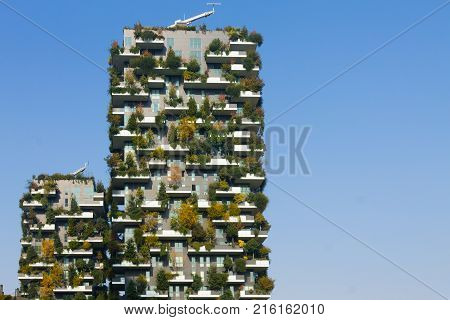 MILAN ITALY-OCTOBER 30 2016: Skyscraper Vertical Forest view. Modern district of Porta Nuova in Milan.
